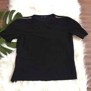 Zara plain zipper style top
